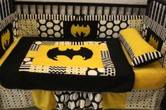 5 Pc Black Chevron Dot Batman Crib Bedding- Free Personalized Pillow