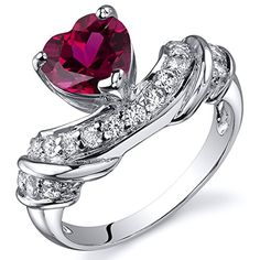 Created Ruby Ring Sterling Silver Rhodium Nickel Finish Heart Shape 175 Carats Size 7 *** Visit the image link more details.