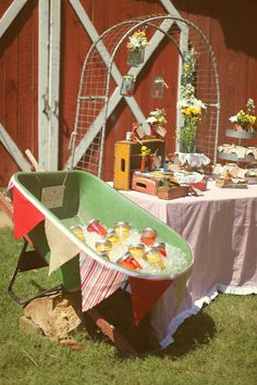 Wheelbarrow drink display
