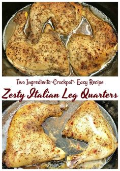Crockpot Zesty Italian Leq Quarters - intelligent domestications - Crockpot Zesty Italian Leq Quarters Easy recipe for Crockpot Leg Quarters. Zesty Italian Leg Quarters Crockpot recipe for an easy and affordable weeknight meal. Crock Pot Slow Cooker, Slow Cooker Recipes, Crockpot Recipes, Cooking Recipes, Sausage Recipes, Oven Recipes, Potato Recipes, Keto Recipes, Carrot Recipes