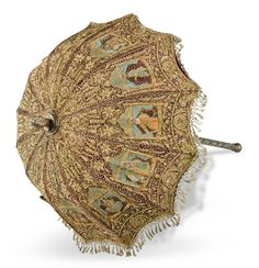 5 ft embroidered velvet parasol applied fabric panels, repousse silver-metal handle, worked with gilt-metal threads India Fancy Umbrella, Vintage Umbrella, Under My Umbrella, Vertical Garden Design, Antique Fans, Umbrellas Parasols, Gems And Minerals, Fabric Panels, Indian Art