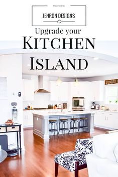 Want to Upgrade Your Kitchen Island? This is a super quick, inexpensive, easy weekend project, that provides a lot of character to an otherwise basic kitchen island by adding picture frame molding. Kitchen Island Molding, Diy Kitchen Cabinets, Island Kitchen, Painting Kitchen Countertops, Painting Cabinets, Basic Kitchen, Kitchen Ideas, Picture Frame Molding, Kitchen Upgrades