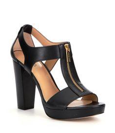 MICHAEL Michael Kors Berkley Leather Zip-Up Block Heel Sandals | Dillards