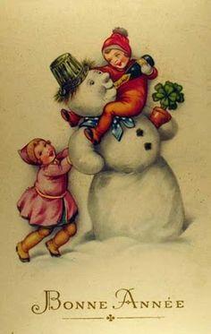 Vintage snowman and children