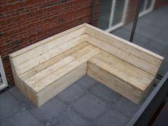 Garden bench- put in the corner of our garden Outdoor Lounge, Outdoor Seating, Outdoor Living, Outdoor Decor, Outdoor Projects, Wood Projects, Woodworking Projects, Pallet Furniture, Garden Furniture