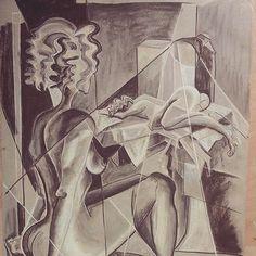 One of my exercises of drawing.. #iamcurious which kind of #footprint it will leaves in my art.. #drawing #kresba #kubismus #cubism  #cubismo #newart #newartist #pastel #cubisticladies #womeninart #art #artslovakia #umenienaslovensku #lujmari @lujmari