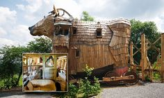 A Belgium enthusiast has created one of the world's weirdest and most wonderful hotels where you can spend the night inside a Trojan horse or even sleep with a mermaid.    La Balade Des Gnomes, near the picturesque town of Durbuy, in Belgium, offers guests a unique experience where they can unwind in an imaginary world.   The fairytale resort is comprised of extraordinarily unique bedrooms from a spaceship in a lunar landscape to a troll's habitat complete with running stream and goldfish.
