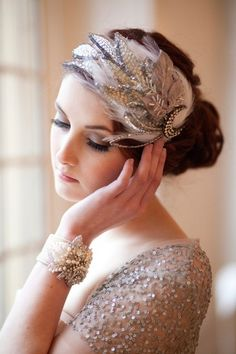 Vintage Hairstyles Bride's looped bun bridal hair Toni Kami Wedding Hairstyles ♥ ❷ Wedding hairstyle ideas with retro Gatsby flapper feather headpiece - Roaring 20s Wedding, Great Gatsby Wedding, Art Deco Wedding, Trendy Wedding, Gatsby Party, Gatsby Theme, 1920s Wedding, Roaring Twenties, Summer Wedding