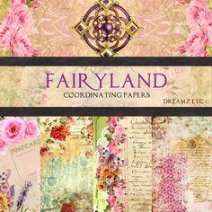 "NEW! Digital Illustrations ""Fairyland Field Coordinating Papers"" - Journal Pages Scrapbooking Card Making and Mixed Media Projects dreamzetc 4.85 USD"
