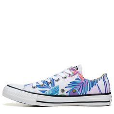 Converse Chuck Taylor All Star Print Low Top Sneakers (White Cyan Magenta) Converse Chuck Taylor All Star, Chuck Taylor Sneakers, School Shoes, Star Print, Magenta, High Top Sneakers, Footwear, Crafts, Shopping