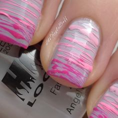 Crazy pink striped nails