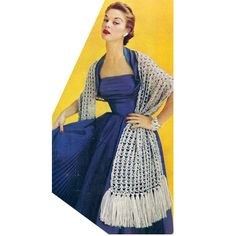 Crochet Stole Pattern -- This particular shawl is extra long  at 20 x 72 inches, and that is excluding the deep, thick fringe.  Made up in an attractive shell and knot stitches, this one will be fun to wear.