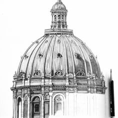 Half way through this dome. #Copenhagen #drawing #architecture #church #travel #sketch #wip #illustration #denmark #pencil