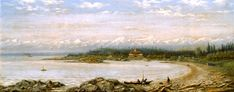 View of Hotel Mount Baker, Oak Bay, BC. Painting by Edward Scrope Shrapnel, ca. BC Archives Used by kind permission, Royal British Columbia Museum Corporation. Vancouver Island, Pacific Ocean, British Columbia, Museum, Play, Mountains, Game, Painting, Travel