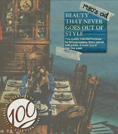 Unlike almost everything else, casegoods maintained good style through the Out Of Style, Cool Style, Furniture Sale, Vintage Ads, Going Out, Give It To Me, Stars, Style Fashion, Vintage Advertisements