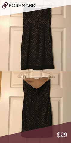 Strapless Sweetheart Neck -Lace Little Black Dress Excellent condition- Adorable little black dress to have in the closet! Lace on top with a nude slip underneath. Tiger stripe print in black lace. Zipper and clasp closure in the back of Dress. Small sweetheart neckline.   *SMOKE FREE AND PET FREE HOME  *Extremely quick shipping   *Thank you for your support! Forever 21 Dresses Mini