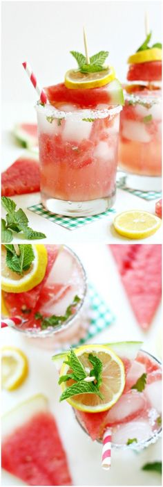 This homemade lemonade recipe combines some of the most delicious flavors of summer: sweet watermelon, tart lemon, and the cool flavor of mint! via @diy_candy