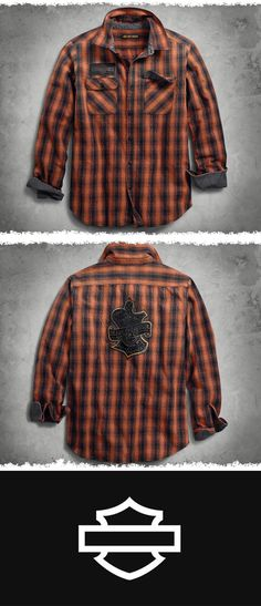 Images from the archives inspired this one. The vintage oak leaf image, circa 1910, makes a rare appearance. | Harley-Davidson Men's Oak Leaf Plaid Slim Fit Shirt