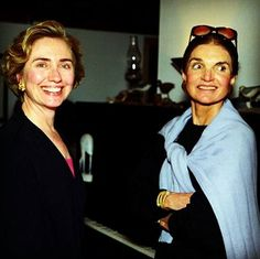 Former First Lady Jacqueline Bouvier Kennedy Onassis and First Lady Hillary Rodham Clinton