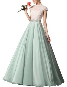 SeasonMall Women's Prom Dresses A Line High Neck Chiffon & Lace Floor Length Size 12 US Sage