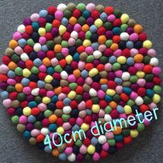 Placemat - NZ wool felt ball 40cm Felt Ball, Placemat, Wool Felt, Flamingo, Table, Food, Wool Felting, Mesas, Hoods