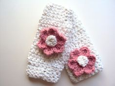 Baby Leg Warmers White Pink Crochet by AngiesLittleBoutique, $20.00