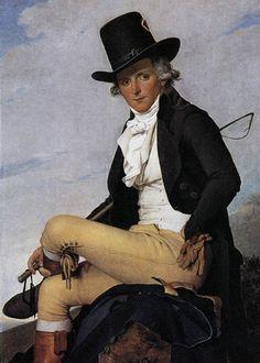 DAVID,Jacques-Louis  Portrait of Pierre.1795  프랑스 혁명이 일어나고, 제정시대가 되면서 부르주아 계급의 가치와 태도 등 문화적 코드들이 만들어 지던 시기였다. 그리고 그 상징적 기호는 외양의 치장이라는 옷차림을 통해 가시적으로 드러날 수 밖에 없었다. 프랑스대혁명을 치룬 프랑스 사회에서는 당시 산업화로 인해 엄청난 부를 축적한 부르주아 계급이 상승하고 있었고, 그들은 구체제 하에서의 귀족들과는 다른 새로운 구별을 원했고, 이 역시 외양이 차별화를 통해서 이루어 졌다. 18세기 귀족의 화려한 색상의 의복과는 달리 부르주아 남성들은 검은색 정장을 통해 자기 통제의 관념을 나타냈고, 여기에서 의복의 도덕성을 추구하였다. 이후 19세기가 진행되는 동안 부르주아 의복이 보편화되자 넥타이를 통해서 자신을 다른 계급과 구별짓기위한 노력을 하기도 한다.