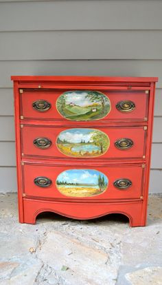 Creative ideas in crafts and upcycled, innovative, repurposed art and home decor. Red Painted Furniture, Funky Furniture, Paint Furniture, Repurposed Furniture, Furniture Projects, Furniture Makeover, Dresser Furniture, Upholstered Furniture, Antique Furniture