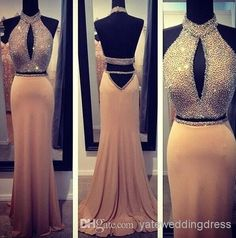 two pieces long chiffon beaded backless prom evening gowns . so love it !