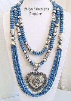 Blue silver multi strand necklace