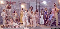 From left to right: Laverne Cox, Janet Mock, Carmen Carrera, Geena Rocero, Isis King, Gisele Alicea, Leyna Ramous, Dina Marie, Nina Poon, Juliana Huxtable, Niki M'nray, Pêche Di, Carmen Xtravaganza and Yasmine Petty