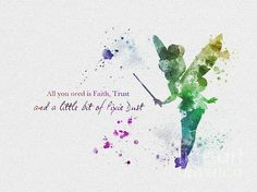 Tinkerbell quotes disney pinterest tinkerbell and disney quotes for sale direct from the artist original art print of tinker bell quote illustration created with mixed media and a contemporary design all you need is voltagebd Choice Image