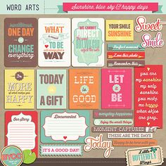 Sunshine, blue sky and happy days word art journal cards by Little Butterfly Wings at The Lilypad