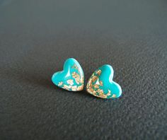 I love the turquoise!!Tiffany Heart Stud Earrings Polymer Clay and by LaLiLaJewelry, $16.00