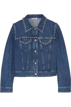 Miu Miu - Embellished Denim Jacket - Mid denim - IT40