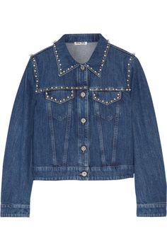 Miu Miu - Embellished Denim Jacket - Mid denim - IT40