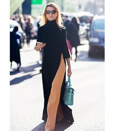 Turtle neck maxi dress with high-slit worn over camel colored trouser pants dress over pants Look Fashion, Autumn Fashion, Womens Fashion, Fashion Trends, Fashion 2015, Dubai Fashion, Petite Fashion, Fashion Spring, Fashion Styles