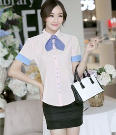 S~XXL Women's Tops 2014 Slim Short-Sleeved Women Blouses Blue Pink And White Blouse Women Plus Size Work Wear With Bow Tie