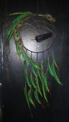 A gentle dragon coming in through the feathers of peacock. Feather Art, Feather Jewelry, Feather Design, Feather Necklaces, Peacock Feathers, Dream Catcher Craft, Dream Catcher Mobile, Dreamcatchers, Dream Catcher Tutorial