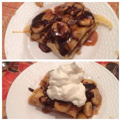 Bananas foster crepes with caramel and chocolate sauce and whipped cream!