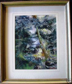 An amazing Robert Hammond original watercolour 'Rainforest Water' Australia. Signature: Signed 'R Hammond' lower right. Image size: 33 x Watercolour, Trees, Australia, Painting, Image, Art, Pen And Wash, Art Background, Watercolor Painting