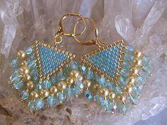 Seed Bead Czech Glass Earrings  Aqua  FREE SHIPPING by pattimacs, $22.00