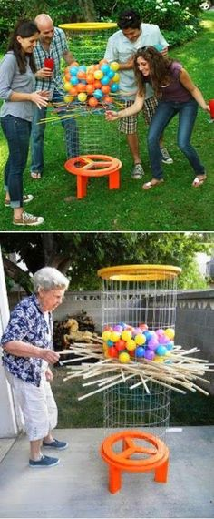 """Shishkaball Ball-Drop Game. Kirplunk game on a GRAND SCALE for the yard. #contest [   """"How to build Shishkaball Ball-Drop Game. Reminds me of a big KerPlunk!"""",   """"Alternative Gardning: Shishkaball Ball-Drop Game Great idea for school carnivals, VBS, teen activities, church picnics, etc."""",   """"How to build Shishkaball Ball-Drop Game - we made one of these with plastic mesh, plastic ties, bamboo stakes and ball pit balls. Might try water balloons in summer."""",   """"Shishkaball Ball-Drop Game…"""