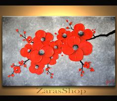 Red Abstract Flower Painting, Large Original Abstract Painting 36 X 24, Modern Wall Art, Gift for Her