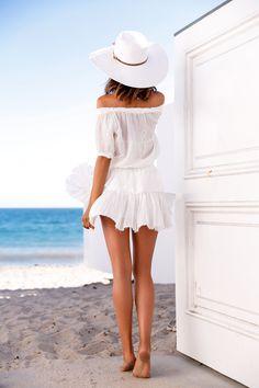 VivaLuxury - Fashion Blog by Annabelle Fleur: SUNSHINE ESSENTIALS - LOVESHACKFANCY dress | MELISSA ODABASH Jemima hat | WANDERLUST & CO Trio Stack ring set | GORJANA Gisele ring  June 30, 2015
