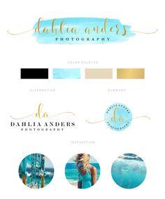 Watercolor Branding Kit, Branding Package, Premade Logo, Watercolor Logo, Gold Logo, Turquoise Logo, Photography Logo, Wedding Logo