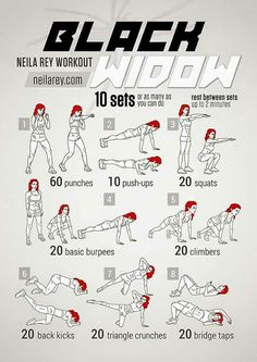 Black Widow Workout If only all of us could be as amazing as Marvel's Black Widow. Maybe with this workout we could at least come a little closer ; Fitness Workouts, Hero Workouts, Fitness Hacks, At Home Workouts, Fitness Motivation, Movie Workouts, Total Gym Workouts, Agility Workouts, Health Fitness