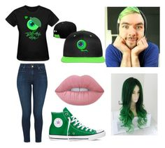 """Jacksepticeye"" by abbyschellhase ❤ liked on Polyvore featuring J Brand, Converse and Lime Crime"