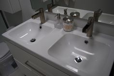 Bathroom Double Sink for small spaces by Ikea... $3600 master bath redo