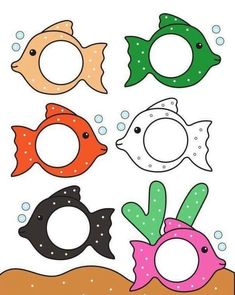 fish color match for preschool and kindergarten Fish Activities, Preschool Learning Activities, Color Activities, Toddler Activities, Preschool Activities, Kids Learning, Preschool Colors, Numbers Preschool, Teaching Colors